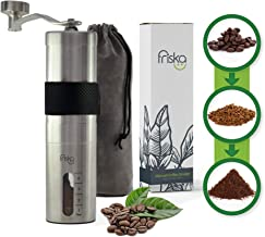 Manual Coffee Grinder with Ceramic Burr by Friska - Durable Portable Stainless Steel, Grey Velvet Bag & Silicon Grip (Black) (Black)
