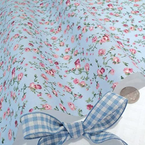d147278d02 MOLLY - Blue Poly Cotton Fabric with delicate Pink Flowers Vintage Floral -  per metre -