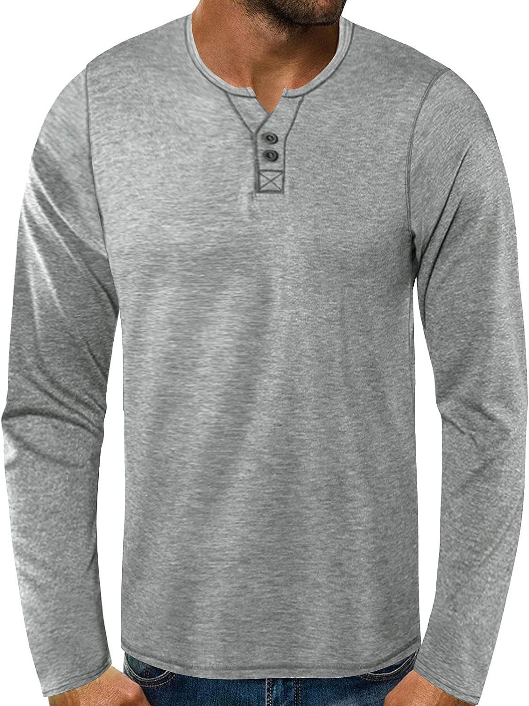 FUNEY Men's Long Sleeve Work Shirts O Neck Patchwork Pullover T-Shirt Tops Regular-fit Cotton Lightweight Beefy Henley Shirt