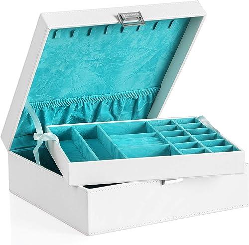 SONGMICS JDS305W Boîte à Bijoux à 2 Niveaux avec séparation Amovible pour Colliers, bagues Cadeau pour Les Proches Blanc