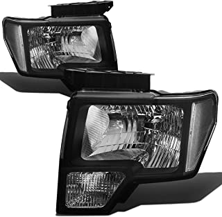 For Ford F-150 12th Gen Pair of Black Housing Clear Corner Headlight Lamps Lighting Kit