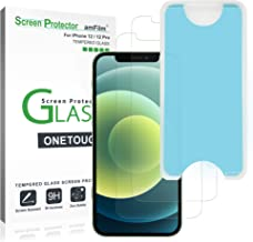 """amFilm OneTouch Glass Screen Protector for iPhone 12 / iPhone 12 Pro (6.1"""", 2020) (2 Pack)"""