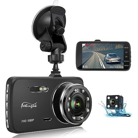 【2019最新版/前後カメラ】Pathinglek ドライブレコーダー 前後 カメラ リアカメラ付き 1080PフルHD SONYセンサー/レンズ 暗視機能 170°広視野角 常時録画 G-sensor WDR 保証付き ドラレコ 4.0インチ