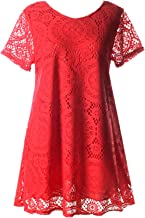 Arctic Cubic Sexy Short Sleeve Floral Lace Overlay Mini Babydoll Swing Trapeze Maternity T-Shirt Dress