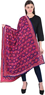 Indian Traditional Duppata Embroidered Sacrves Stole Dupatta Floral Geogette