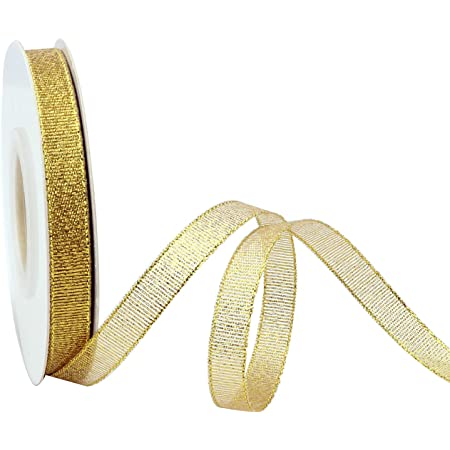 [2021 Halloween]3/8 Inch Glitter Gold Ribbon, Sparkly Fabric Curling Ribbon for Christmas Decoration, Metallic Thin Ribbon for Gift Wrapping Wedding Holiday Party Decor and Thanksgiving, 25 Yards