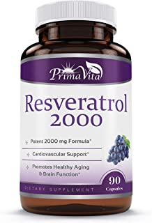 High Purity Resveratrol 2000mg- Maximum Strength with Quercetin and Green Tea Extract