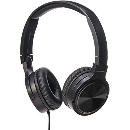 Amazon Basics Lightweight On-Ear Wired Headphones, Black