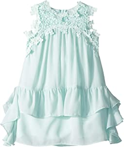Embroidered Trap Chiffon Ruffle Dress (Toddler/Little Kids)