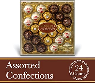 Ferrero Rocher Fine Hazelnut Milk Chocolates, 24 Count, Assorted Coconut Candy and Chocolate Christmas Gift Box, 9.1 oz, Great Stocking Stuffers