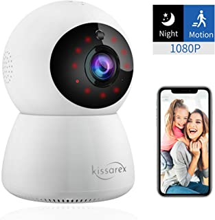 Kissarex Wireless Wifi Pet Camera: Indoor 1080p HD Night Vision Monitoring Motion Dog Home Baby Pan Tilt Zoom Audio Video App Internet Iphone Smart Remote Phone Monitor Security Surveillance IP System