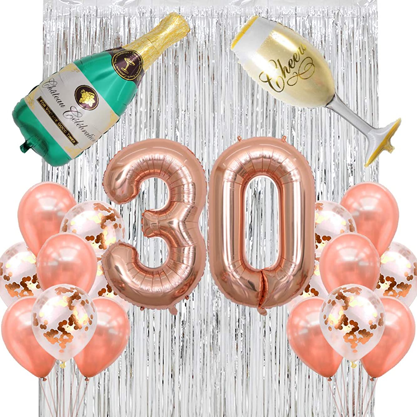 40 inch Jumbo Rose Gold 30 Number Balloons with Latex Balloons Champagne Bottle Flute Balloons Rose Gold Confetti Balloons Backdrop Silver Fringe Curtains 30th Birthday Party Anniversary Decorations