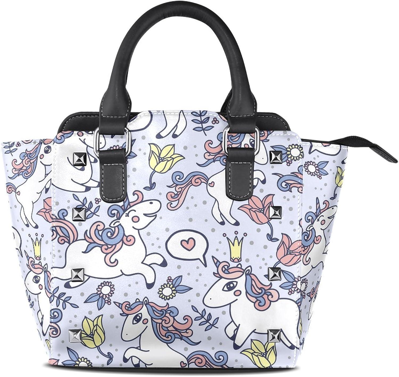 Sunlome Cute Cartoon Unicorn Print Handbags Women's PU Leather Top-Handle Shoulder Bags