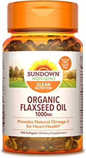 Sundown Flaxseed Oil 1000 mg, 100 Softgels (Pack of 3)(Packaging May Vary)