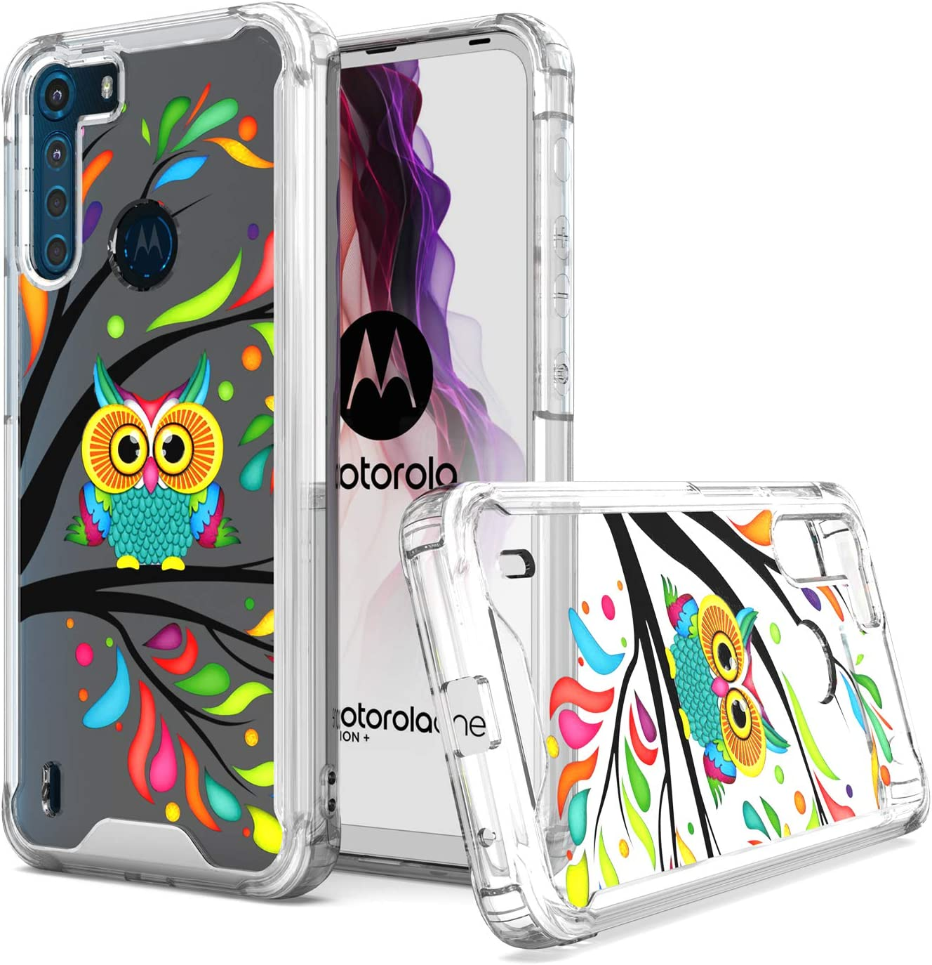 KWEICASE Cell Phone Case for Motorola Moto One Fusion, Moto One Fusion Clear Case with Colorful Cute Owl, Soft TPU Bumper Hard Backing Shockproof Protective Case for Women Girls Men