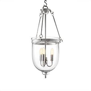 Georgian Silver Hanging Lantern -S | Eichholtz Cameron | Glass Dome Ceiling Lamp | Modern Luxury Chandelier Lighting for Entryway, Living Area & Dining Room