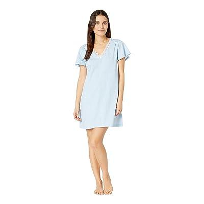 Karen Neuburger Petite Dreamer Short Sleeve Nightshirt (Gingham/Blue) Women