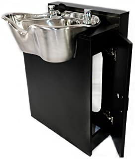 Round Polished Stainless Salon Shampoo Bowl Spa Equipment Black Cabinet TLC-1368-FC