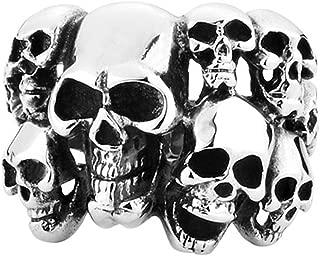 Men's Vintage Classic Gothic Embossed Skull Biker Stainless Steel Ring Band Silver Black