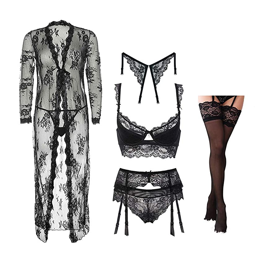 Women's Lace Lingerie Set See Through Robe and Bra and Panties and Garter Stockings Racerback Straps Thong 7 Piece/Lots