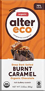 Alter Eco | Dark Salted Burnt Caramel | 70% Pure Dark Cocoa, Fair Trade, Organic, Non-GMO, Gluten Free Dark Chocolate Bar, Single Bar (2.65 oz)