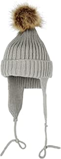 WITHMOONS Ribbed Knit Beanie Velour Lining Hat Pom Earflaps Cap BZ70012