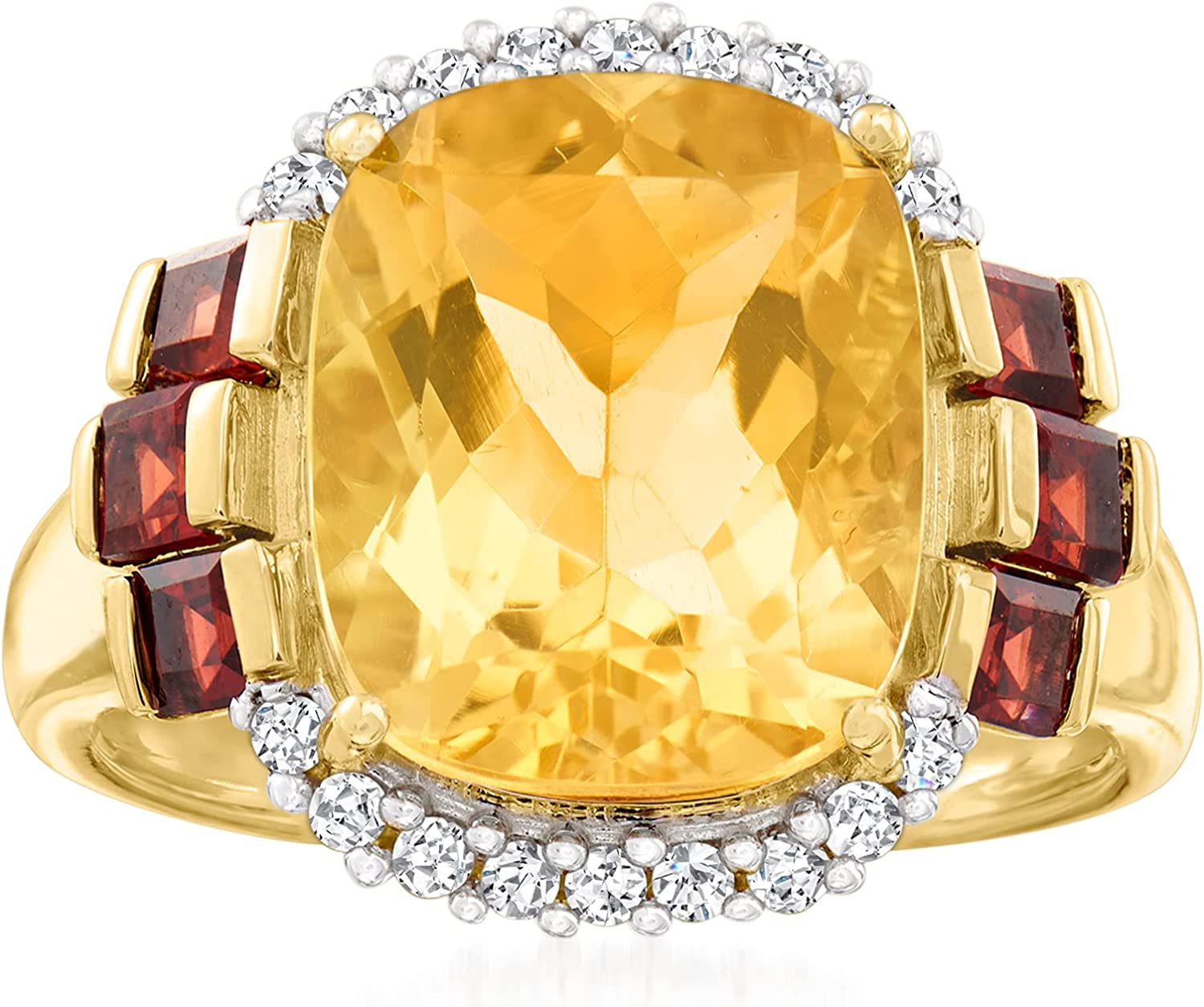 Ross-Simons 6.50 Carat Citrine.70 ct. t.w. Garnet and .18 ct. t.w. Diamond Ring in 14kt Yellow Gold