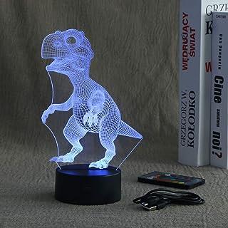Uonlytech 3D ديناصور ضوء الليل، مصباح وهمي ثلاثي الأبعاد مع مصباح مكتب يعمل باللمس وجهاز التحكم عن بعد، أفضل ألعاب هدايا ع...