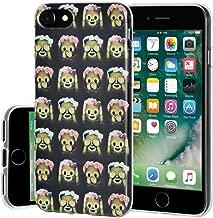 Soft Gel Crystal Clear Transparent Emoji TPU Skin Case for iPhone 7 - See Speak Hear No Evil Monkeys