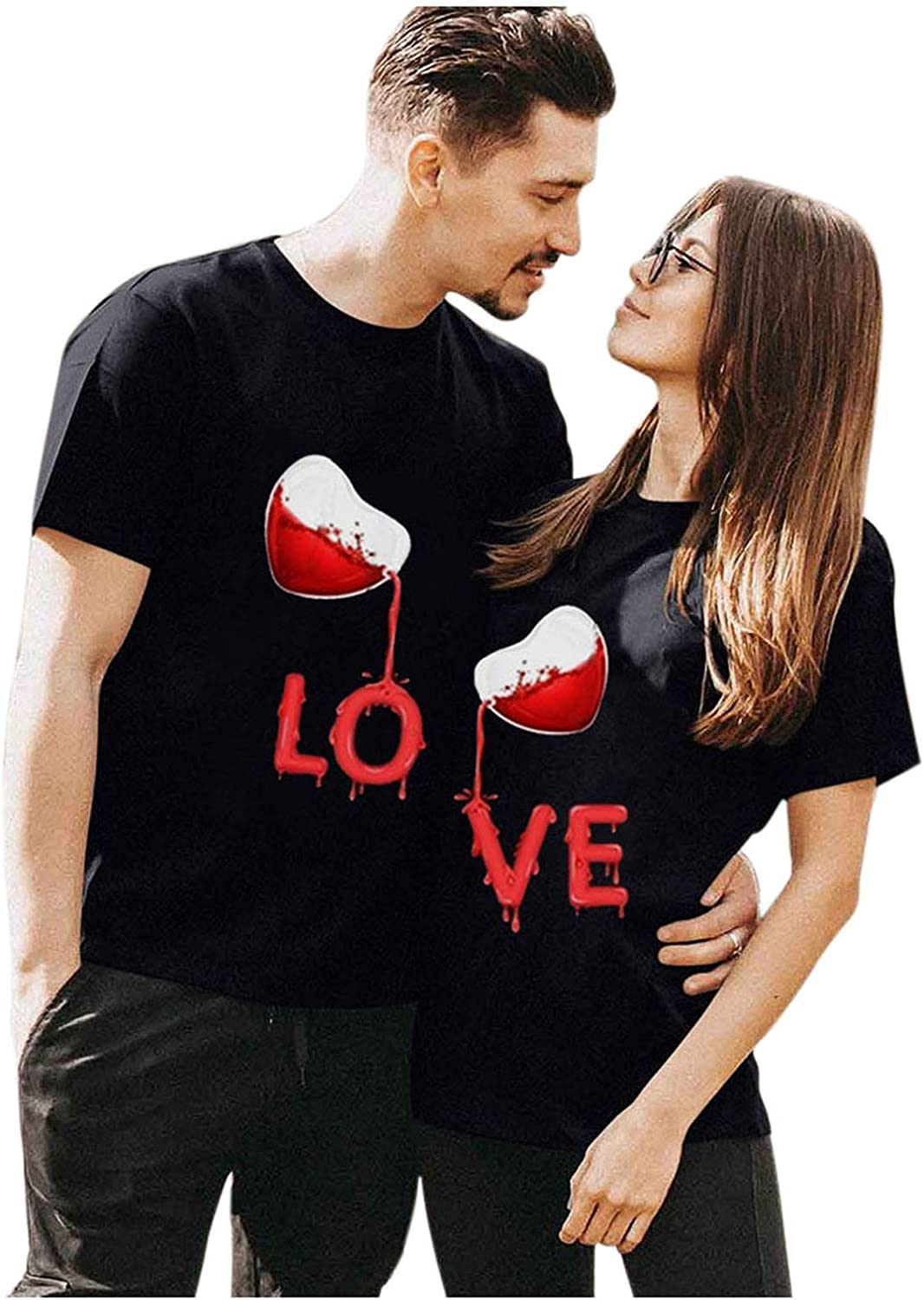 FUNEY Adult's Valentine's Long-awaited High order Day Heart T-Shirt Printed Tops Letter