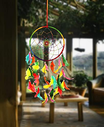 ILU® Wall Hanging Handmade Beaded Circular Net Decoration Assorted (Size 16 cm Diameter)
