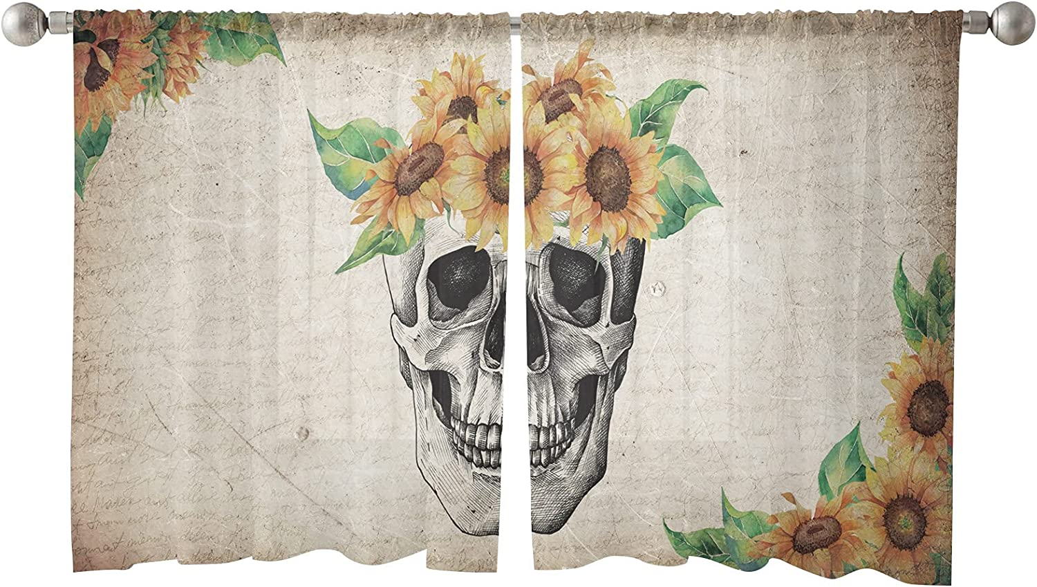 Semi Sheer Window Curtains Skeleton Rod New item Skull NEW before selling ☆ Sunflower with Poc