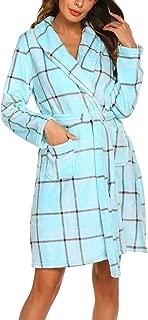 Deep V Neck Womens Plush Warm Hooded Bathrobe Soft Lightweight Bath Spa Robe, Knee Length