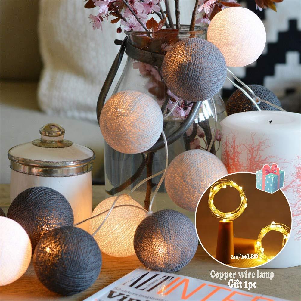 Cadena de Luces Bolas de Algodón,Morbuy Pilas Interiores Guirnalda Luces Bola de Algodón Hecha a Mano Tailandés 2M/ 20led para Decoración de Halloween Fiesta de Boda Habitación Hada Luz (Estilo gris): Amazon.es:
