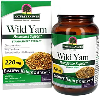 Nature's Answer Wild Yam Root Vegetarian Capsules 60 Count Standardized | Menopause Support | Supports Female Balance