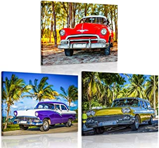 iKNOW FOTO 3 Piece Wall Art American Classic Car on The Beach Cayo Jutias Canvas Prints Picture Decor Vintage Car Poster Print Stretched and Framed Ready to Hang for Boys Room 12x16inchx3pcs