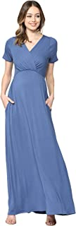 LaClef Women's Maternity Maxi Wrap Dress with Side Pocket