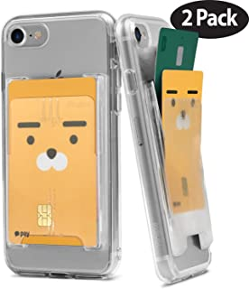 Ringke Slot Card Holder Adhesive Stick On Wallet Case Minimalist Slim Hard Premium Credit Card Cash Sleeve Compatible with Most Smartphones - Clear Mist (2 Pack)