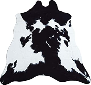 JACCAWS Faux Fur Black and White Cowhide Rug,4.6 x 6.6 Feet Cow Skin Area Rug Large Size. (4.6x6.6, Black and White)