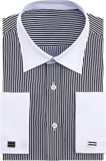 64b5225e02 Check out this Alimens & Gentle French Cuff Regular Fit Contrast White  Collar Stripe Dress Shirts