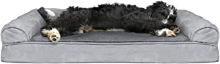 Furhaven Pet Dog Bed   Cooling Gel Memory Foam Orthopedic Ultra Plush Sofa-Style Couch Pet Bed for Dogs & Cats, Gray, Large