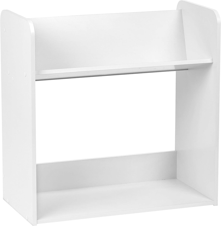 IRIS USA IRIS 2-Tier Tilted Shelf Book Rack, White