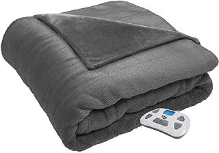 Serta 874447 Silky Plush Electric Heated Warming Blanket Full Grey Washable Auto Shut Off 10 Heat Settings