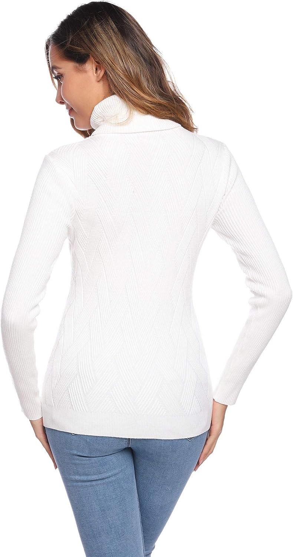 Pullover Aderente di Colore Puro di Taglia S-XXL Hawiton Maglione Dolcevita da Donna Maglione Donna Elegante a Collo Alto Maglione Invernale di Maniche Lunghe Basic
