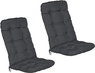Beautissu Set de 2 Cojines para sillas de balcón Flair HL - Cojín para Asientos Exteriores con Respaldo Alto - 120x50x8 cm - Gris Grafito