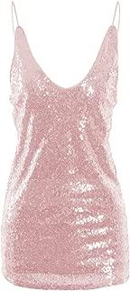Oflive Women's Sexy Gold Shimmer Sequin Embellished Sparkle Deep V Neck Camisole Vest Tank Tops
