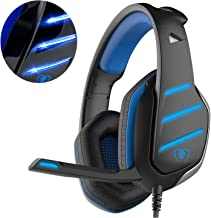 Beexcellent GM-3 Auriculares para Juego para Xbox One PS4, Auricular para Juego con Micrófono LED Iluminación Auriculares Bajos de Reducción de Ruido para PC, Tableta (Azul)