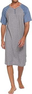 Ekouaer Sleepwear Men's Nightshirt Short Sleeve Pajamas Comfy Big & Tall Henley Sleep Shirt M-XXXL