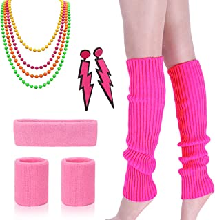 80s Outfit - Womens 80s Fancy Outfit Costumes Accessories Set Leg Warmers Fishnet Gloves Neon Earrings Bracelet and Beads