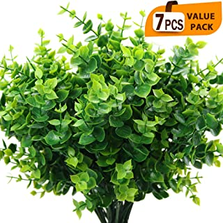 ElaDeco Artificial Boxwood (Pack of 7),Artificial Farmhouse Greenery Boxwood Stems Fake Plants and Greenery Springs for Fa...